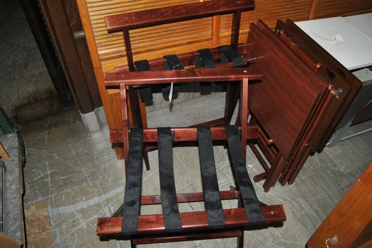 Set of two mahogany style luggage racks