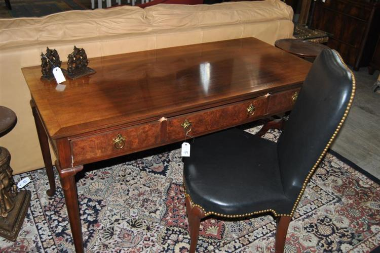Burl walnut style writing desk / console featuring three drawers, made by Baker Furniture Co