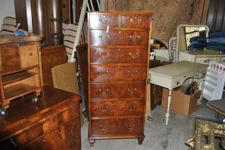 Burl walnut tall chest of drawers with a total of eight drawers - height: 60 inches, length: 26 inches, depth: 15
