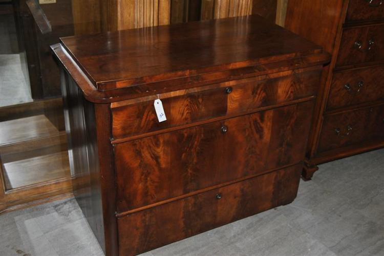Antique burl walnut chest of drawers featuring three drawers - height: 31 inches, length: 37