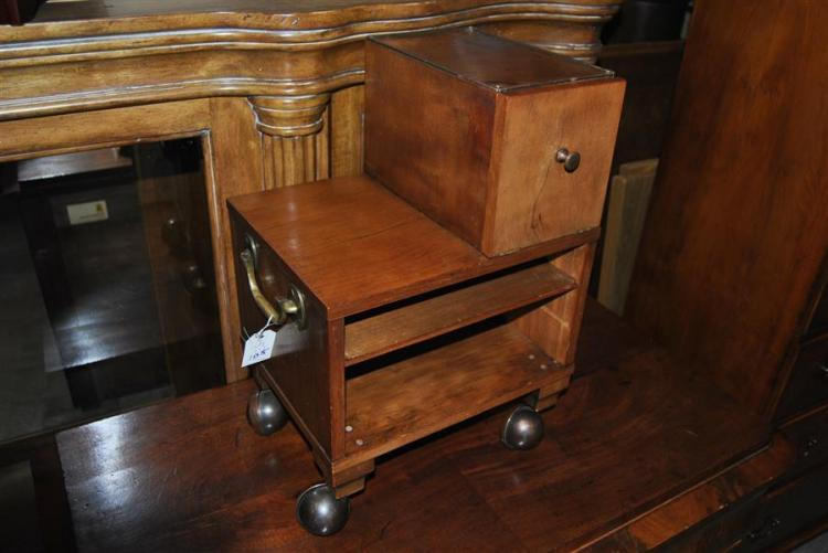 Small side table with brass handles and casters having compartment on top - height: 19