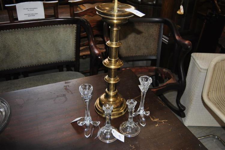 Brass altar candlestick, stamped Franz Janner - height: 21