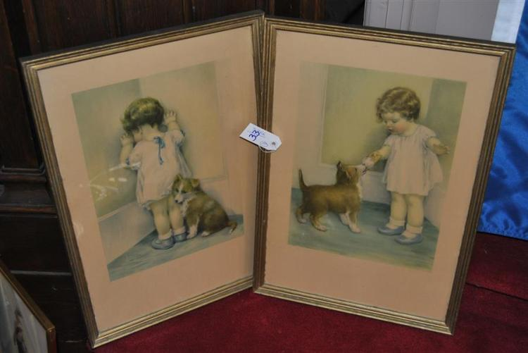 Pair of framed prints depicting a child and dog