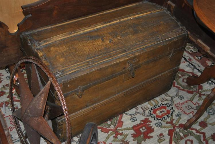 Antique camel back wooden trunk