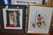 Three framed prints, two Norman Rockwell and a poster for women's rights