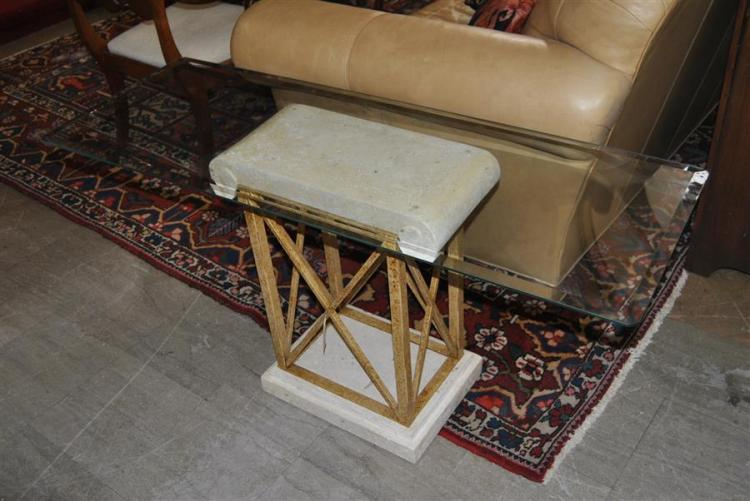 Beveled glass top credenza with Neoclassic designed base - height: 25