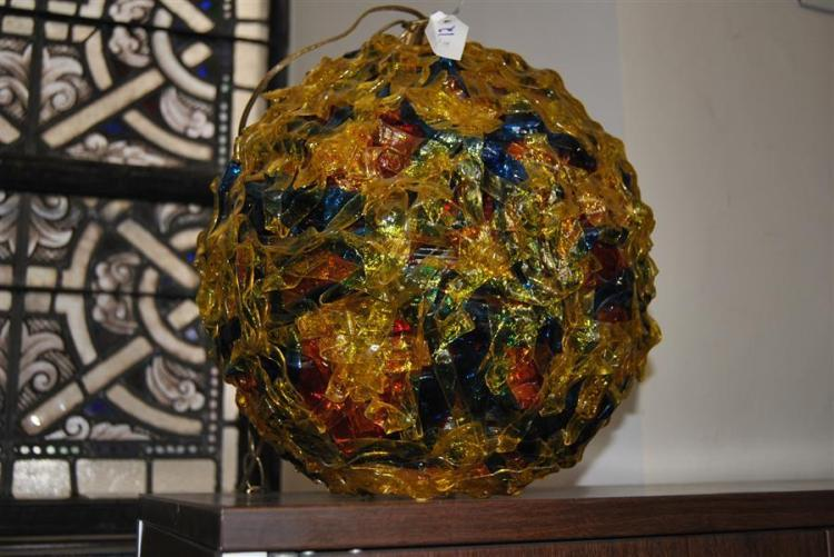 Mid-century colorful hanging lamp, orb form