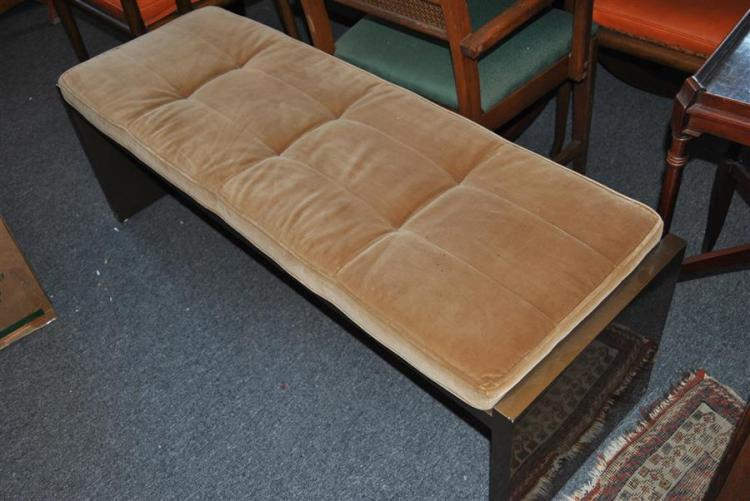 Gallery style bench with tuffted seat - height: 19 inches, length: 54 inches, depth: 18 inches