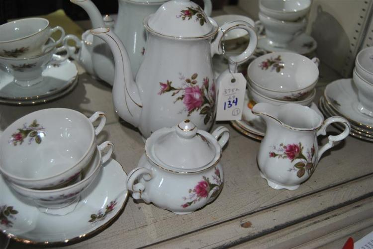 Porcelain coffee service set, total of 17 pieces, including a coffee pot, sugar, creamer, cups, and saucers