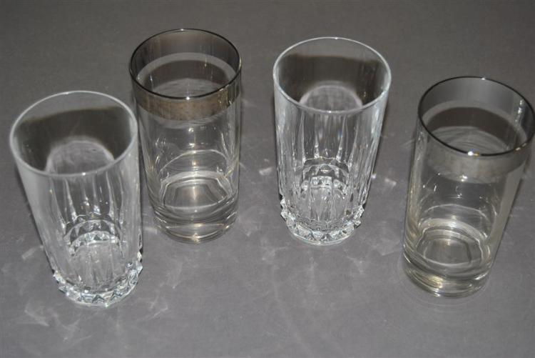 Collection of seventeen drinking glasses, six having a silvered rim