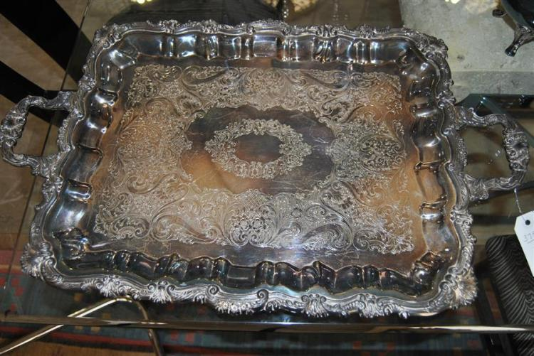 Plated silver footed serving tray with two handles