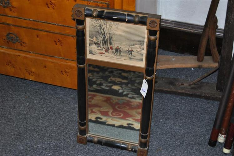 Small trumeau mirror with print Winter Pastime after Currier & Ives