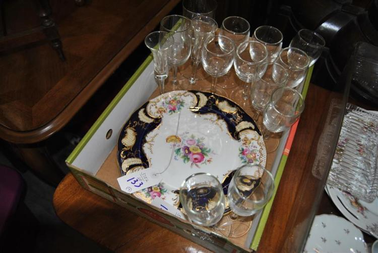 Assortment of various wine glasses together with two plates stamped England