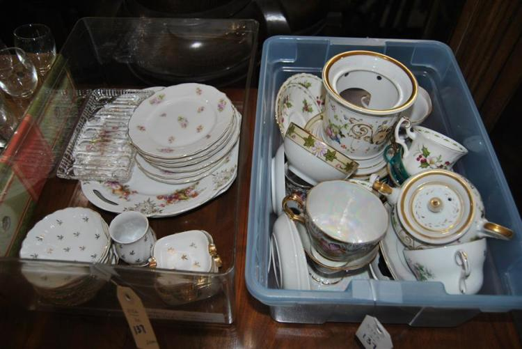 Collection of assorted cups, saucers, and plates including a porcelain cigarette set stamped Lefton China (two boxes)