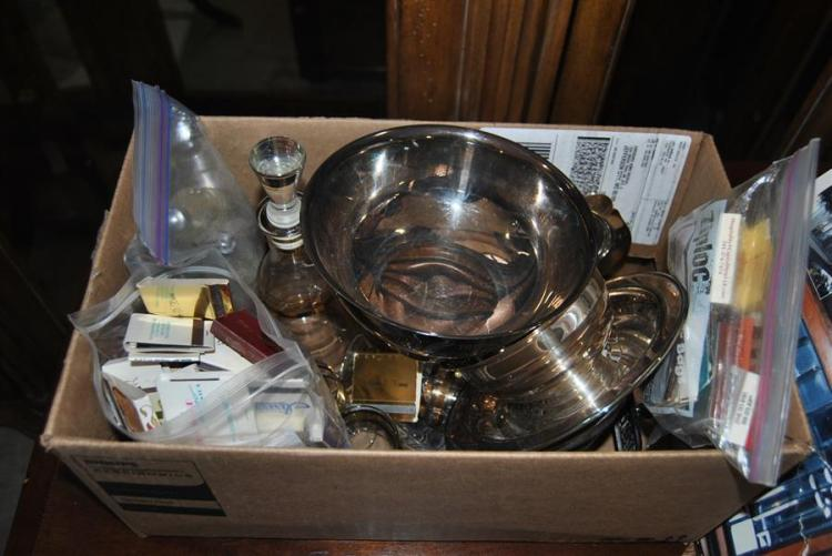 Assortment of items including a decanter set, silver plated items, various match boxes, and salt and pepper shakers