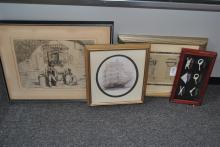 Four framed articles; two representing Nautical themes, one print of an engraving and architectural print