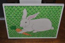 Diane White, White Rabbit/ Orange Carrot, signed lower right