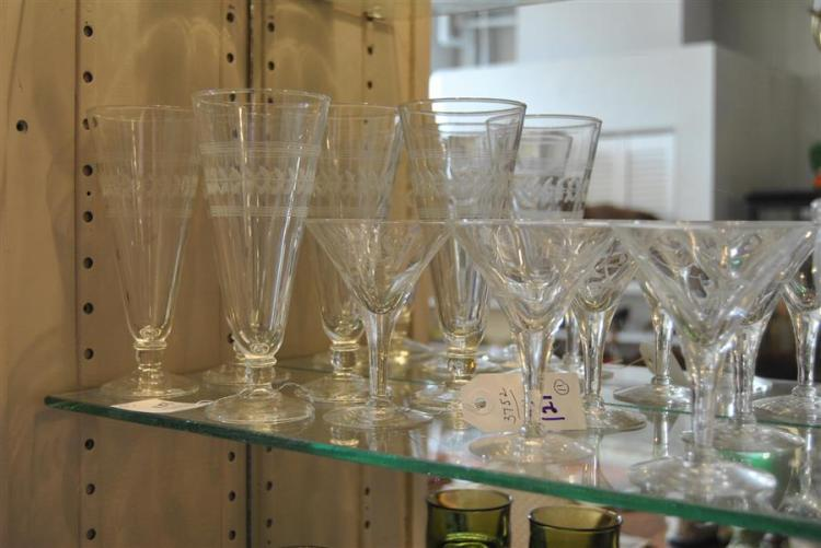 Collection of etched glassware in two patterns