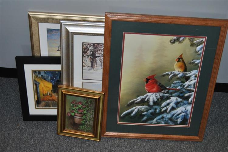Collection of five framed prints including a small oil painting signed Louis Mueller