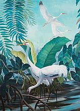 Phil Brinkman, St. Louis (b. 1916), Egrets in tropical landscape, oil on canvas, 72 x 53 inches