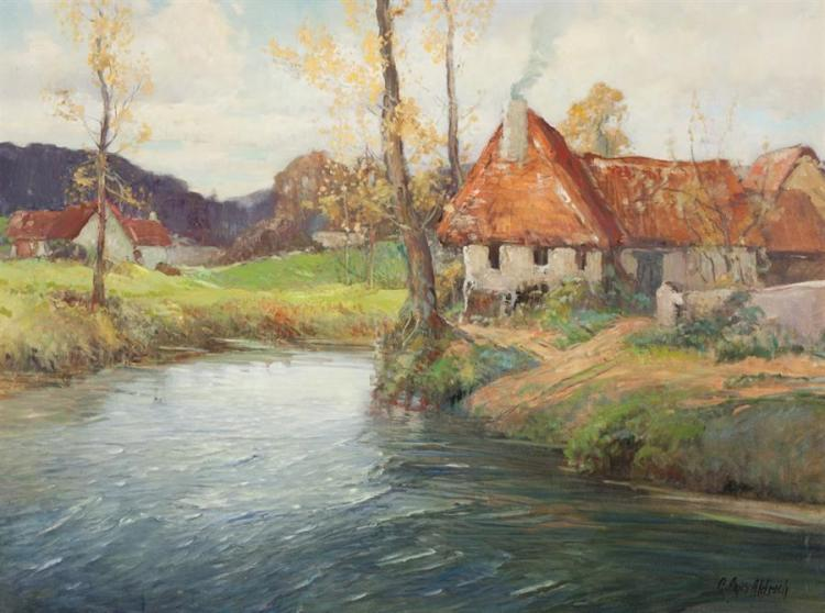 George Ames Aldrich, American (1872-1941), Autumn landscape with river and thatched cottages, oil on canvas, 30 x 40 inches