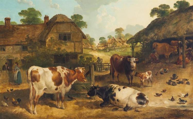Charles Waller Shayer, British (1826-1914), Farm at Alton, Hants, oil on canvas, 21 x 33 inches