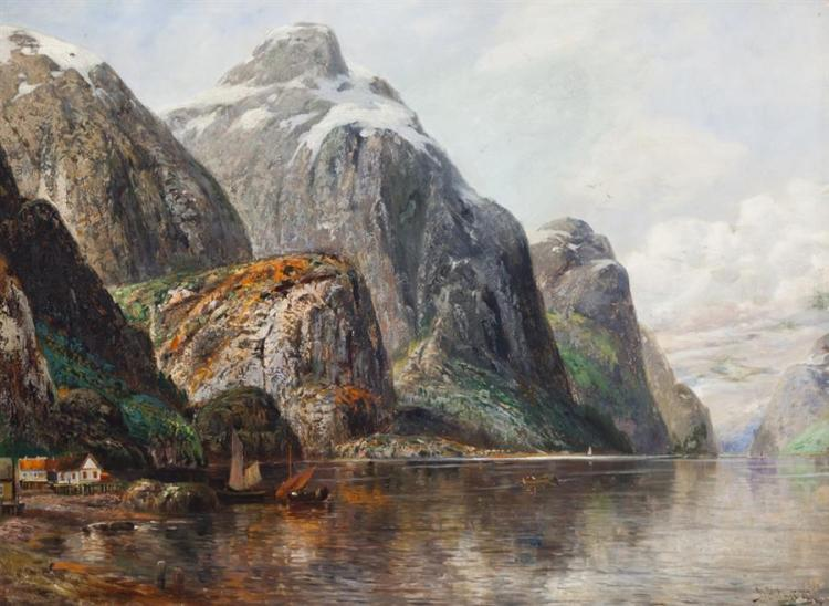 Johann Holmstedt, Swedish (1851-1929), Mountain Lake, oil on canvas, 28 x 38 inches
