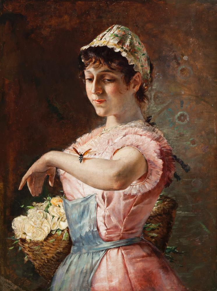 Conrad Kiesel, German (1846-1921), Woman with bee, oil on canvas, 24 x 18 inches