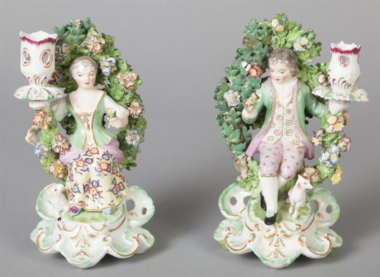 Pair of Chelsea-Derby Bocage Figural Candle Holders