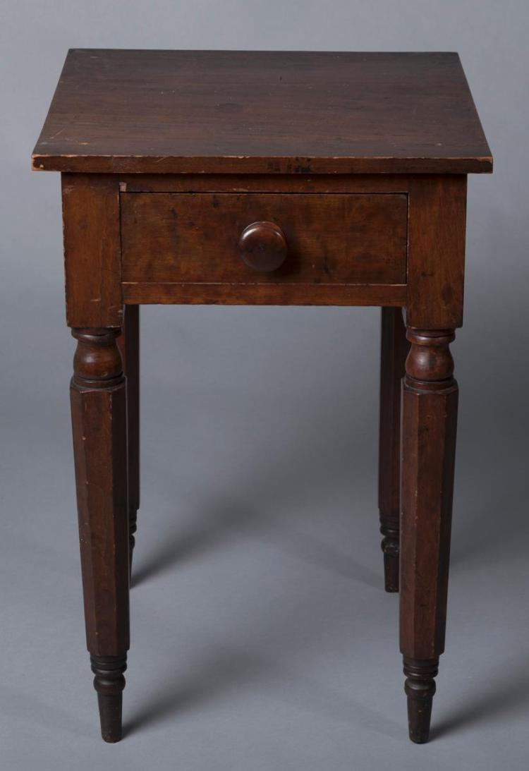 Cherry single drawer stand with old patina, tapered octagonal legs
