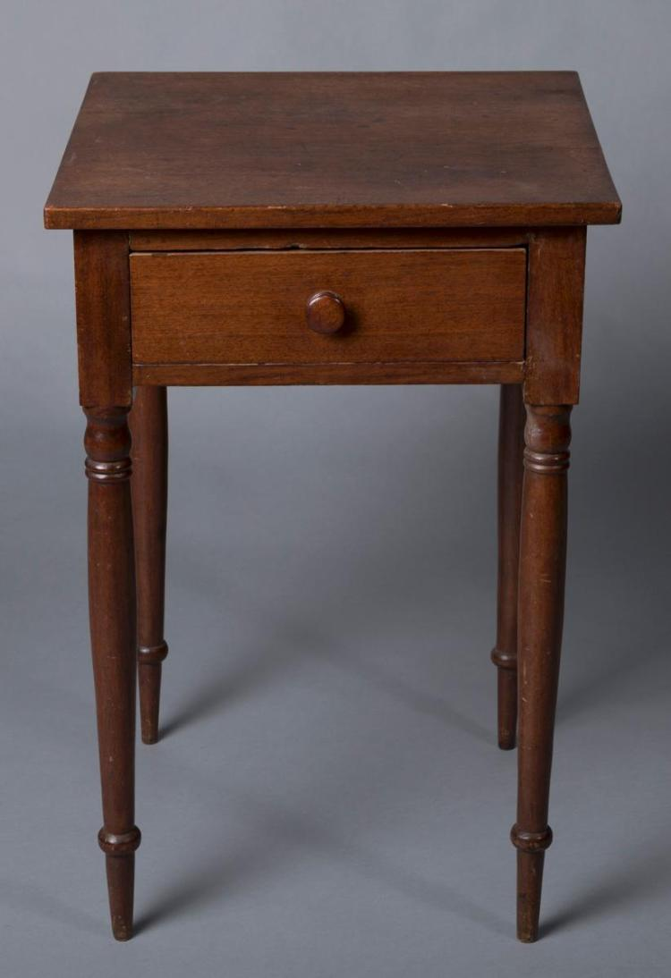 Sheraton walnut single drawer stand with delicate turnings c