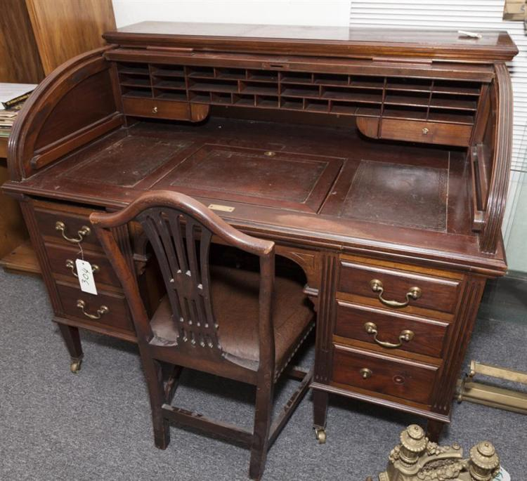 Early 20th Century Warings Of London Mahogany Roll Top Desk Provenance: Desk of Arthur Ziern, Ziern Antiques, Saint Louis