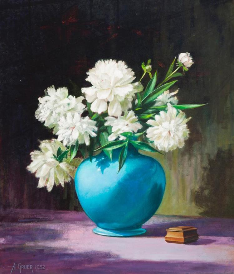 Al Gruer, American (20th century), Peonies in a blue vase, 1952, oil on canvas, 32 x 27 inches