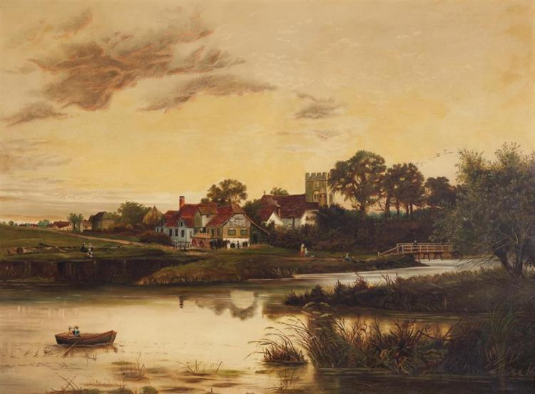British, 19th century, British countryside with lake and figures in a village, oil on canvas, 30 x 40 inches