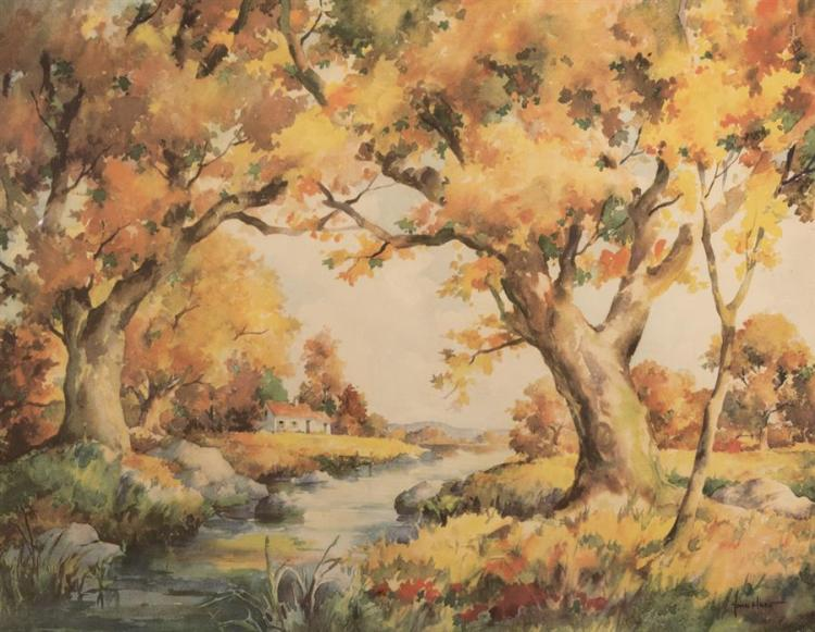 John Cuthbert Hare, American (1908-1978), Autumn landscape, watercolor on paper,
