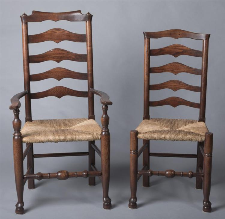 Set of Eight Ladderback Side Chairs