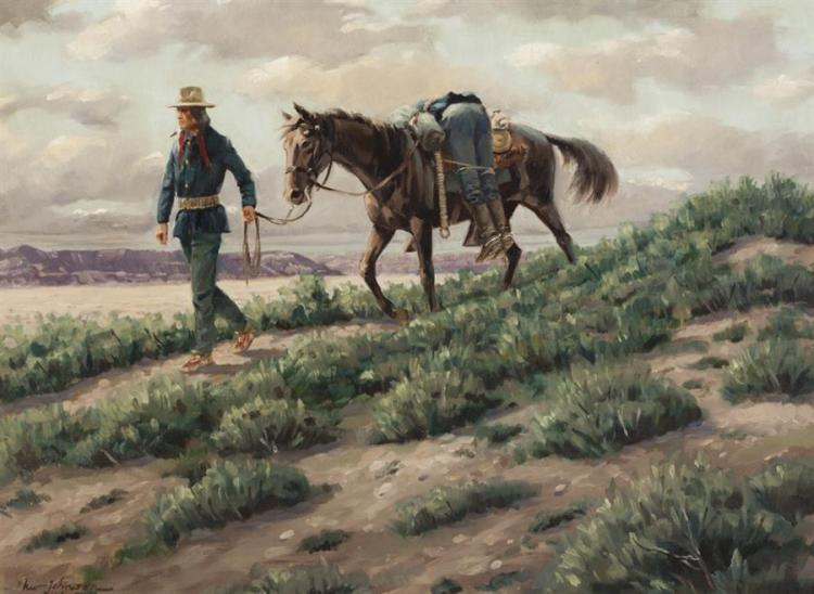Harvey W. Johnson, American (1921-2005), American Indian Walking with Horse in Desert landscape, 1966, oil on canvas, 21 x 29 inches