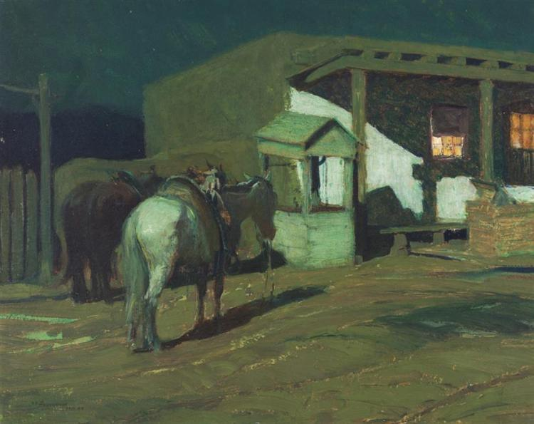 Oscar Edmund Berninghaus, American (1874-1952), Horses tethered in moonlit scene, oil on board, 16 x 20 inches