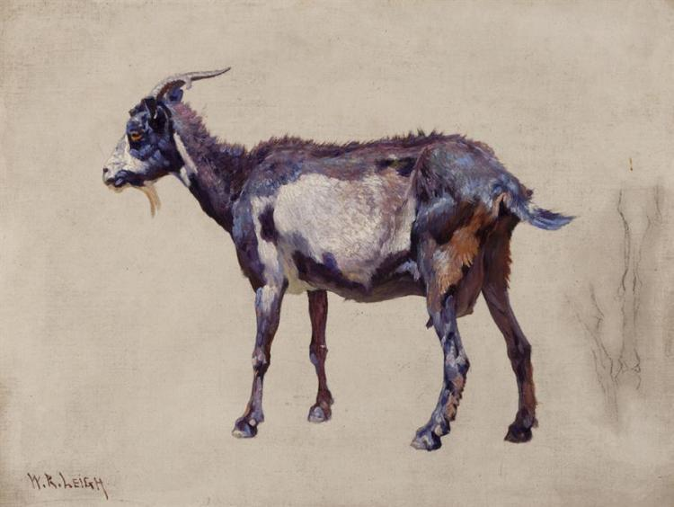 William Robinson Leigh, American (1866-1955), Purple Goat, oil on canvas, 16 x 20 inches