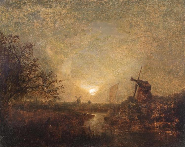 Attributed to John Crome, British, 19th century, Moonlight on the Thames, oil on canvas, 20 x 24 inches