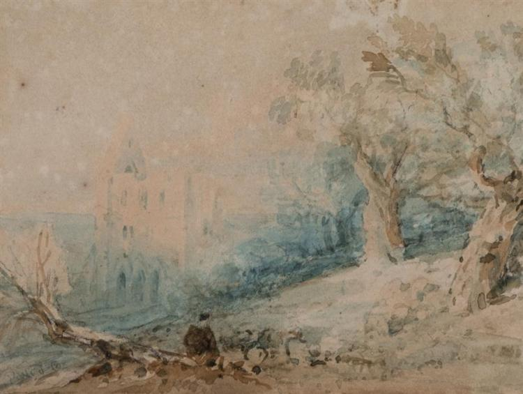 David Cox, British, Castle in landscape with foreground figure, watercolor on paper, 4 x 5 3/8 inches (sight)