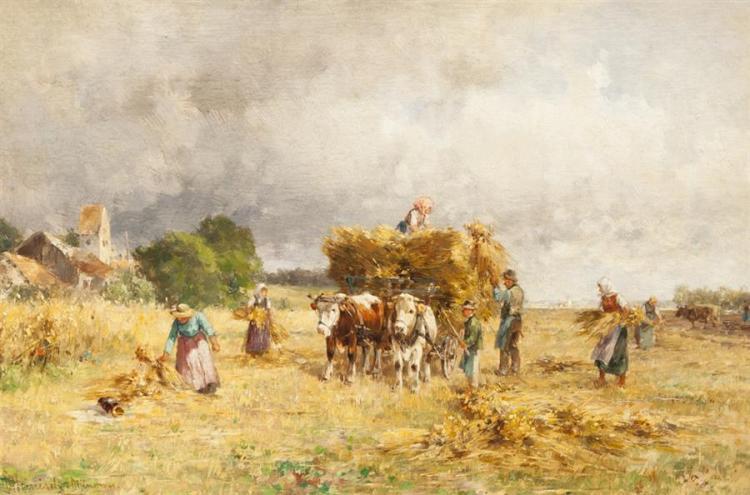 Karl Adam Heinisch, German (1847-1923), Gathering Hay, oil on panel, 6 1/4 x 9 1/4 inches