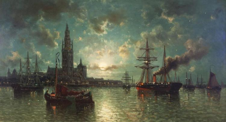 Auguste Musin, Belgian (1852-1923), Moonlit scene with sailboats, oil on masonite, 24 x 41 inches