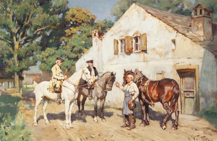 Wilhelm Velten, Russian (1847-1929), Innkeeper, oil on panel, 6 1/2 x 9 1/2 inches