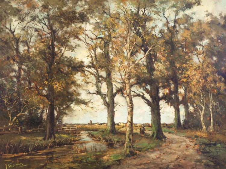 Verschuur, Dutch (late 19th-early 20th century), Figures on a wooded path, distant clearing, oil on canvas, 30 1/2 x 39 inches