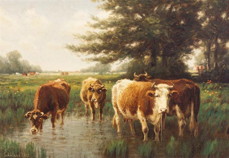George Hays, American (1854-1945), Cattle Watering, 1902, oil on canvas, 14 x 20 inches