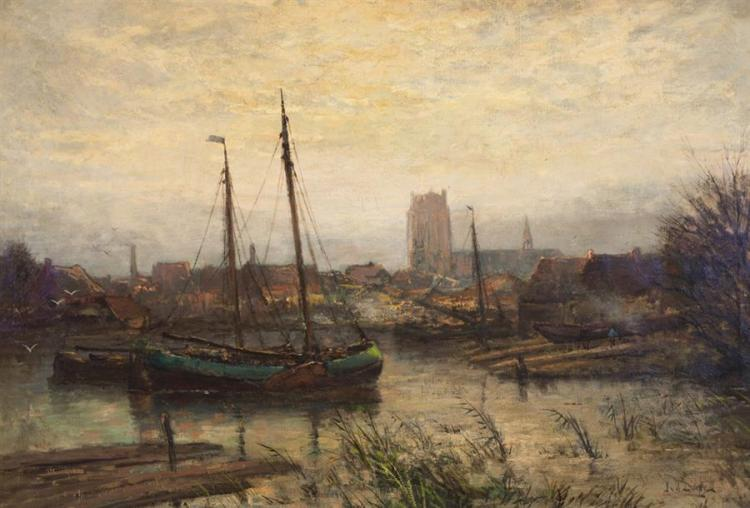 Jan Van Der Linde, Dutch (1864-1945), Boats in a canal, oil on canvas, 28 x 40 inches