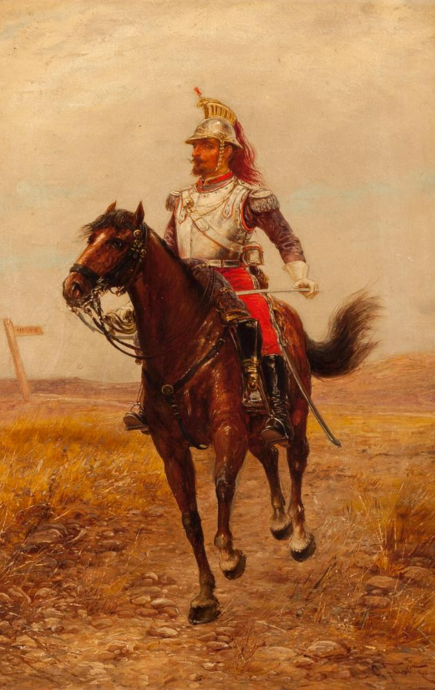 Oldrich Farsky, Czechoslovakian/American (1860-1930), Mounted Russian soldier, oil on canvas, 15 x 10 inches