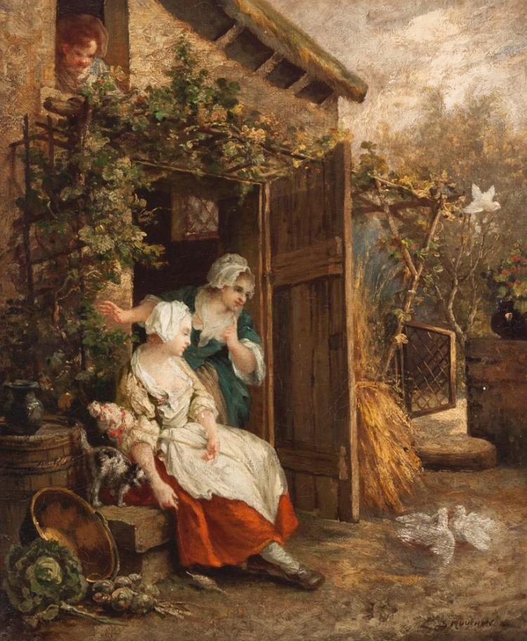 S. Mouchon, French (19th century), Women in garden setting, oil on canvas, 26 x 21 1/4 inches