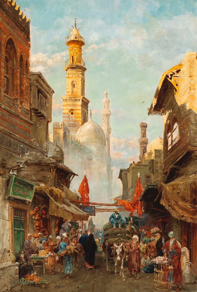 Carl Wuttke, German (1849-1927), Marketplace, Cairo, oil on panel, 25 1/2 x 17 1/2 inches